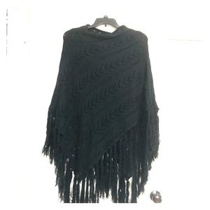 Tops - Asymmetrical black knit poncho or shawl